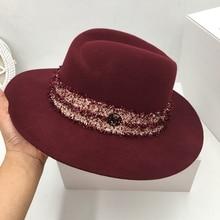 El nuevo sombrero de lana de Inglaterra con forma de borla M bobinado personalidad retro moda fashionista sombrero de las señoras sombrero