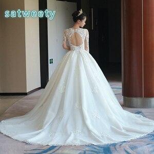 Image 3 - Vestido דה casamento ארוך שרוולים כלה שמלת 2020 V צוואר תחרה חתונה רומנטית שמלות Vestido דה noiva שמלת כלה