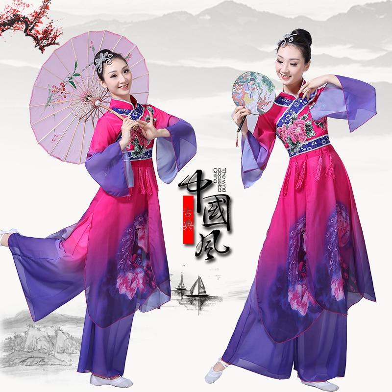 Women's Classical Dance Costumes 2019 New Adult Elegant Embroidery Printing Yangko Clothing Dance National Dance Costume