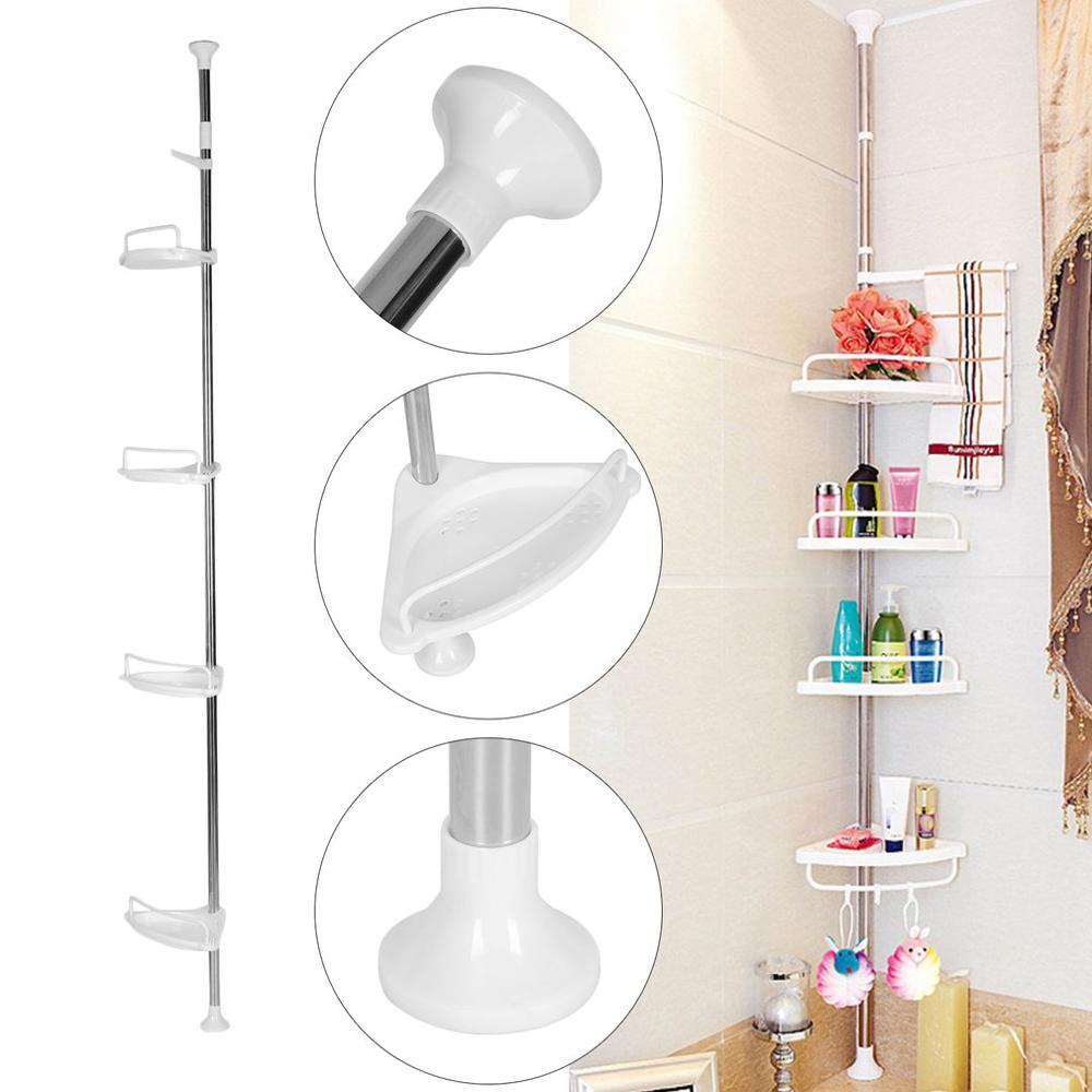 4 Layer 85-305cm Height Adjustable Telescopic Bathroom Corner Shower Shelf Rack Bath Supplies Organizer Storage Holder