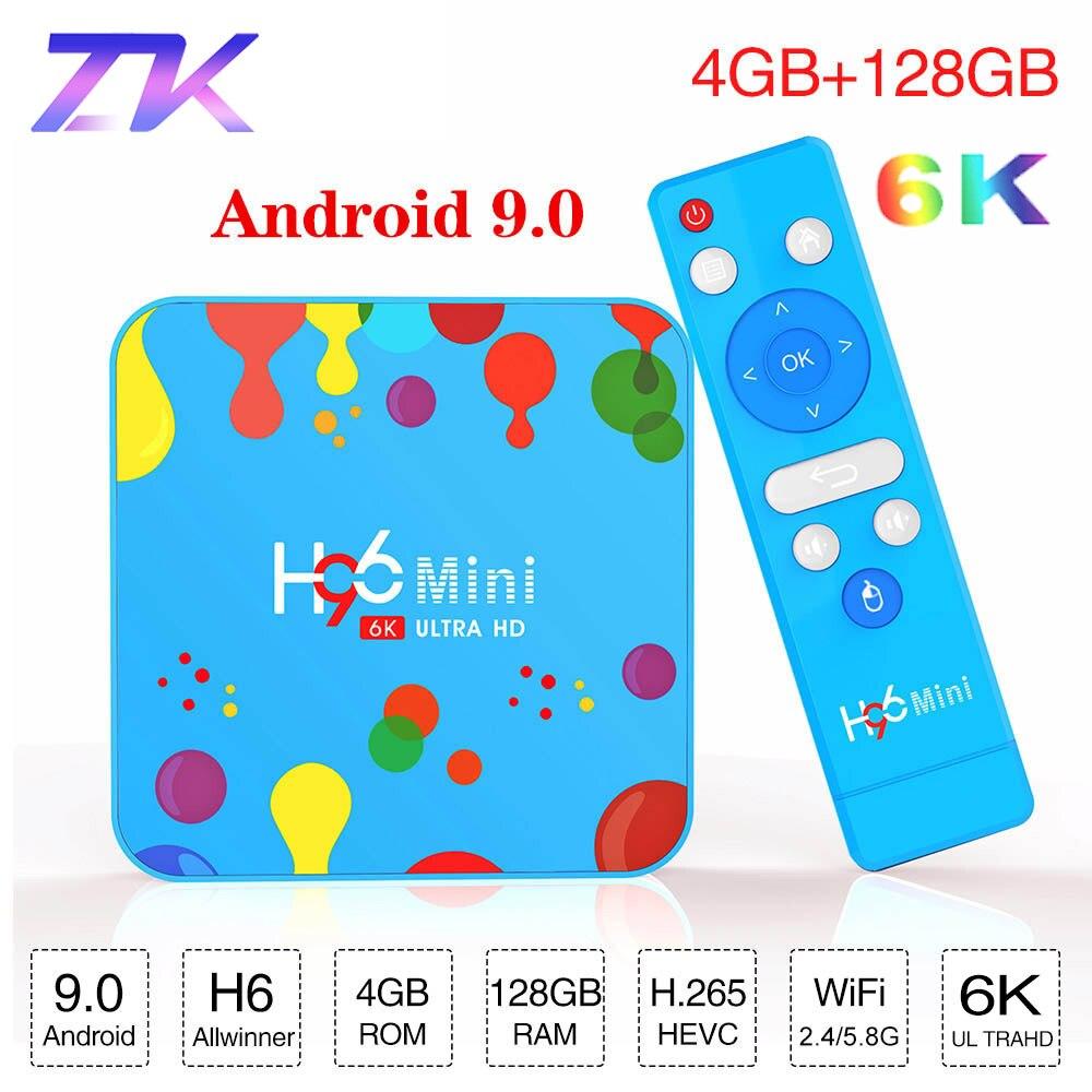 32 4GB RAM GB/128 GB ROM H6 H96 Mini Android 9.0 TV Box Allwinner Quad Core 6K Wifi Buletooth Google Youtube Jogador Set top box