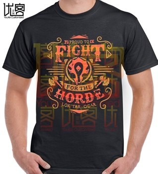 NEW men's  FIGHT FOR HORDE T-SHIRT world of warcraft t shirt - discount item  48% OFF Tops & Tees