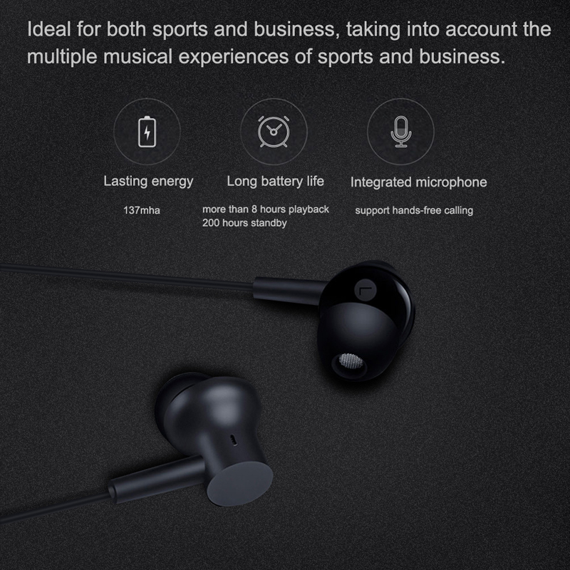 Xiao Mi Mi Bluetooth Collare Auricolare Magnetica con Mi C Senza Fili Sport Hybrid Dual Driver per La Cura Della Pelle di Luce per Il Tempo Libero di Bluetooth 4.1 - 3