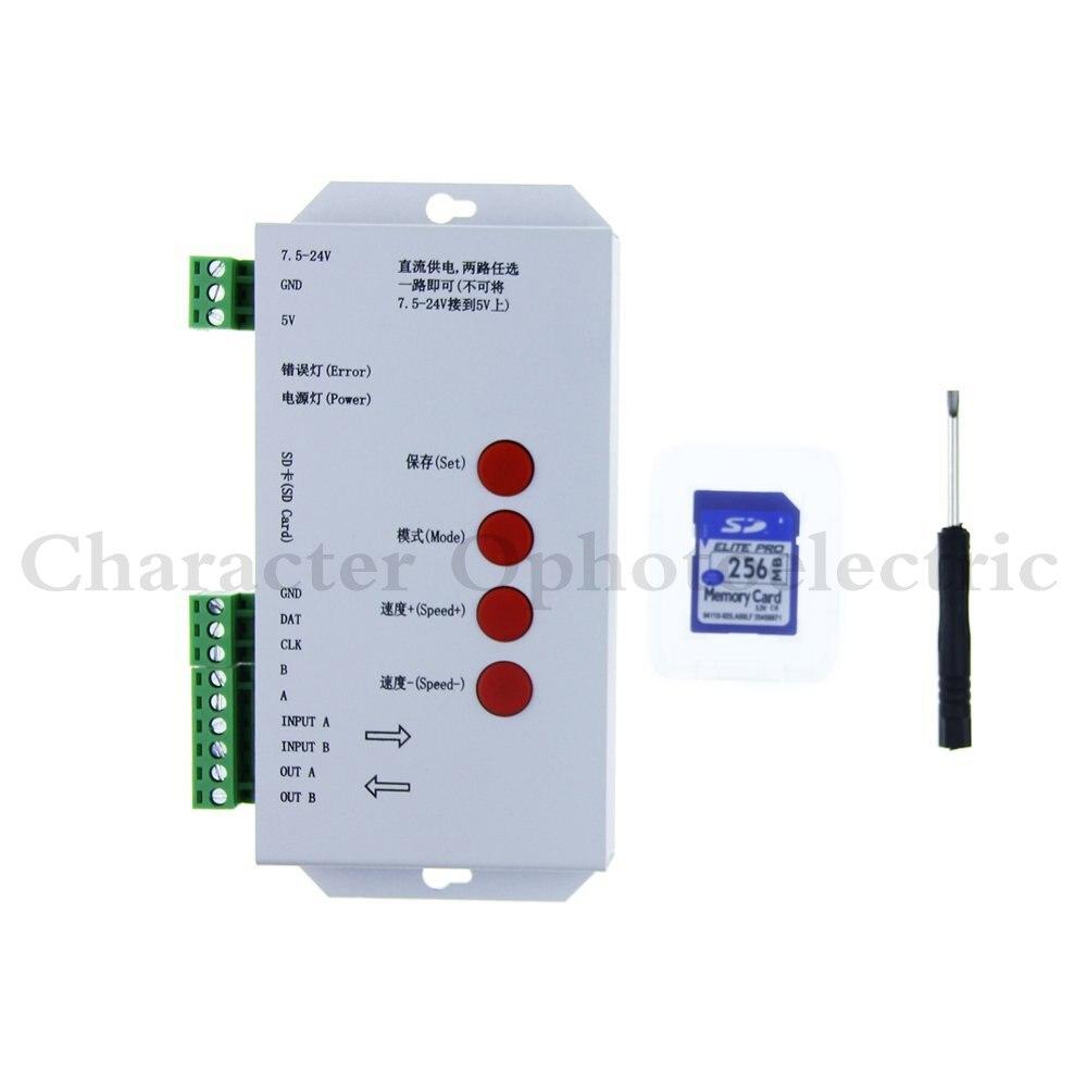 5 pièces T1000S Carte SD WS2801 APA102 WS2811 WS2812B LPD6803 LED 2048 Pixels Contrôleur DC5 ~ 24V T-1000S Contrôleur RVB