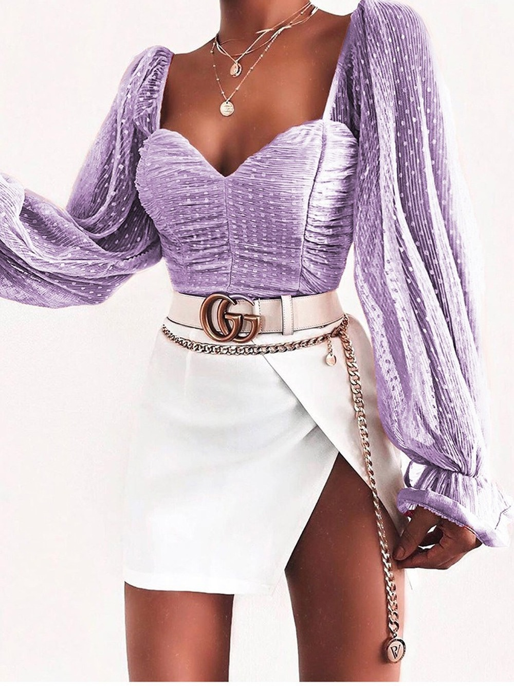 Chiffon Wave Point Women Blouses Chest Wrap and Navel ShirtsLong Sleeve Square Collar Sexy Fashion Bell Sleeve White Short Top