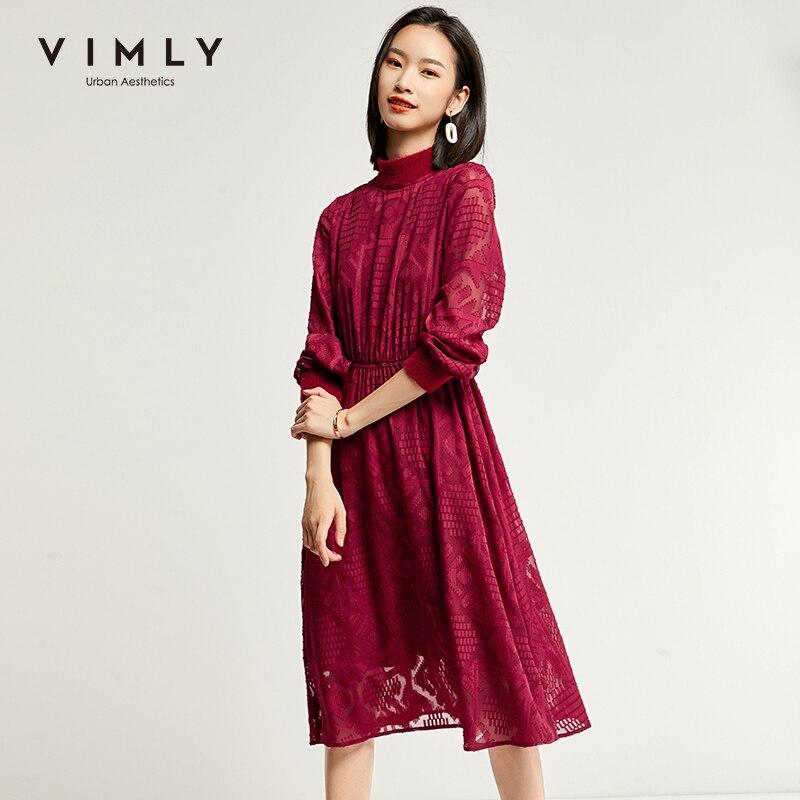 Vimly 2020 Autumn Winter Women Elegant Chiffon Dress Office Lady Turtleneck Long Sleeve Solid High Waist Female Dresses 98737