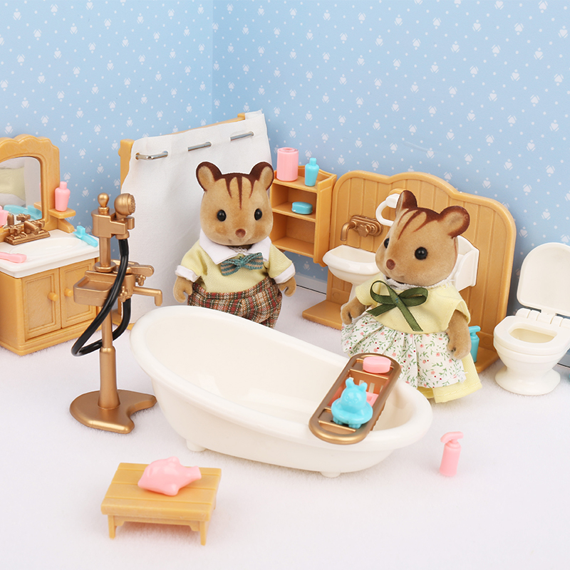 Forest Family Villa 1:12 Forest Happy Family Dollhouse Toy Doll Furniture DIY Miniatura Fluctuation <font><b>Bed</b></font> Sets Bath Toys Products image