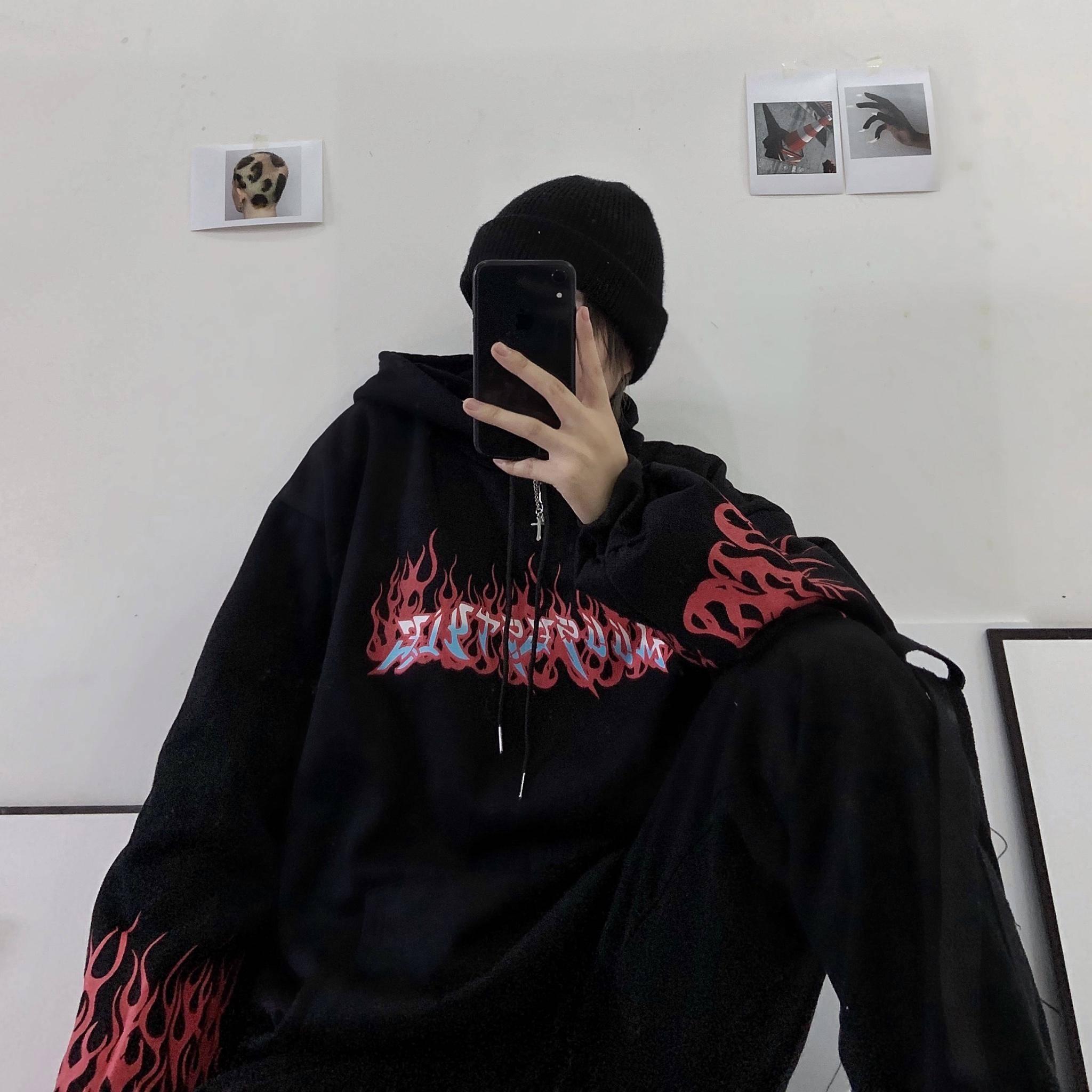 Black Autumn Fire Print Hoodies Men Women Casual Loose Hip Hop Sweatshirts Japan High Street Harajuku Hoodie Fashion Winter Tops