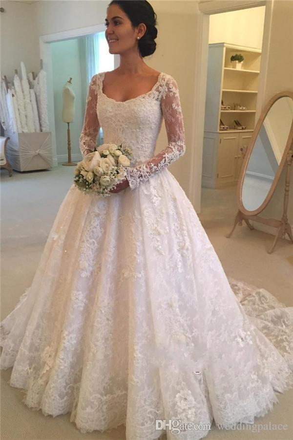 Latest Hot Sale Vestido De Noiva Long Sleeves Appliques Beaded Bridal Gowns Mother Of The Bride Vintage Lace Wedding Dresses