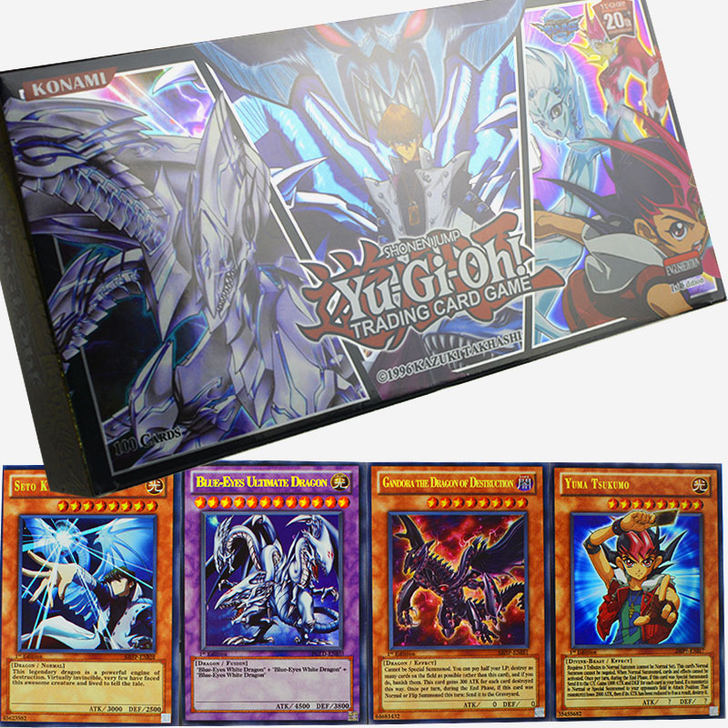 YU GI OH 100 Pcs Holographic Card Set With Box Yu Gi Oh Anime Game Collection Cards Kids Boys Toys For Children Figure Cartas