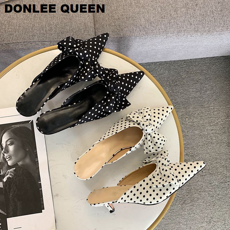 Women Pointed Toe Slippers Low Heel Brand Slides Slip On Female Mule Shoes Women Outdoor Slippers Polka Dot Slides zapatos mujer