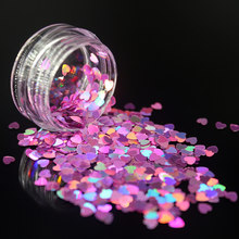 1Pcs DIY Nail Art Deep Pink Heart Sequins Nail Rhinestone Irregular Beads Manicure 3D Nail Art Decoration In Nails Accessories(China)