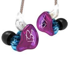 KZ ZST DD + BA auriculares con fuerte bajo Auriculares auriculares HiFi de hierro 4 core control de movimiento de musica de Blue