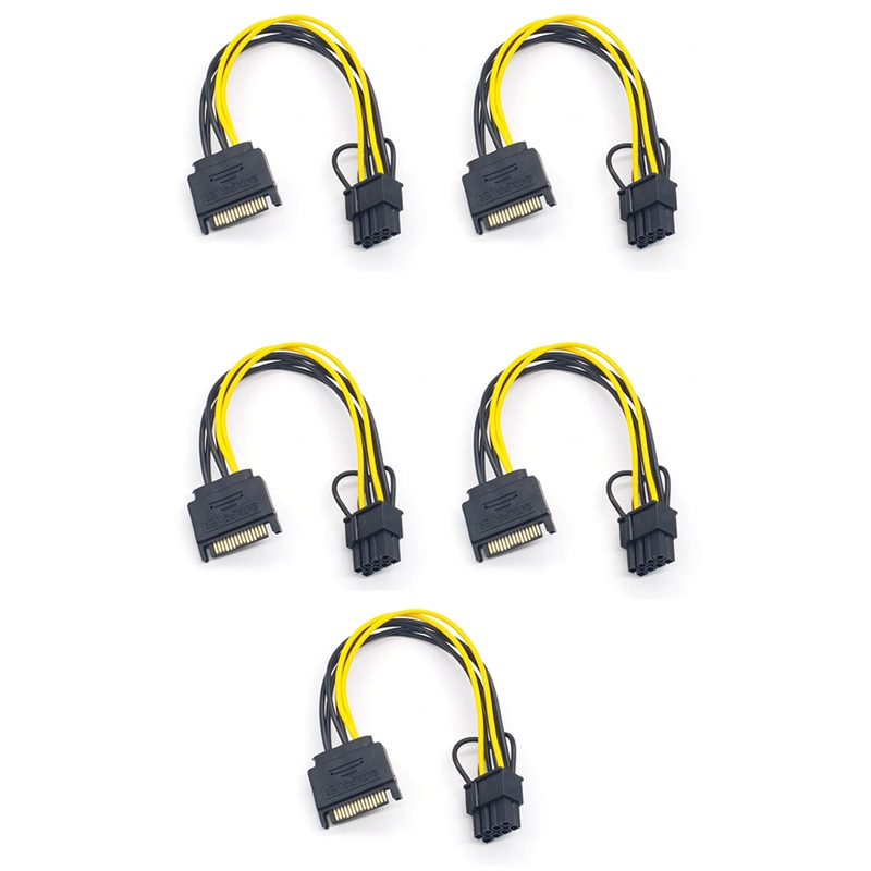 5PCS 15Pin SATA Male to 8Pin(6+2) PCI-E Power Supply Cable 20cm SATA Cable 15-Pin to 8 Pin 18AWG Wire for Graphic Card