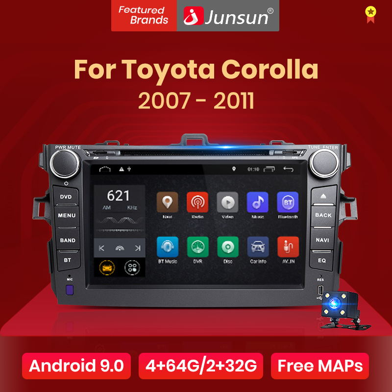 Junsun 2G+32G Android 9.0 For Toyota Corolla 2007 2008 2009 2010 2011 Car Radio Multimedia Video Player Navigation GPS 2 din dvd(China)
