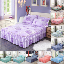 3 pcs Bed skirt bed sheets Skin care printing pad cover 1 pc and 2 pillowcases perpel