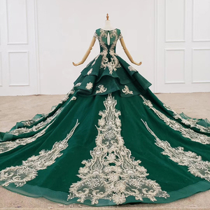Image 3 - HTL1133 green evening dress lebanon o neck short sleeve appliques beads ball gown womens long evening gowns dubai vestido longo