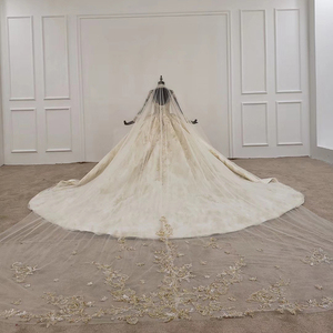 Image 2 - Кружевное бальное платье HTL1141, свадебное платье с длинным рукавом и высокой горловиной, с аппликацией, бальное платье невесты с хиджабом, платье casamento civil