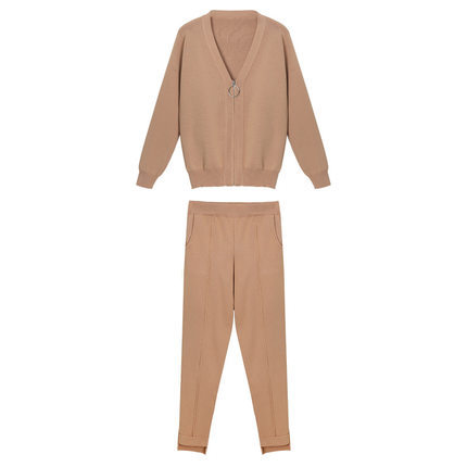 Korean Women Knitted 2 Piece Sets Outfits Long Sleeve Zip-up Cardigan And Pants Suits Ladies Fashion Elegant Two Piece Sets 2019 51