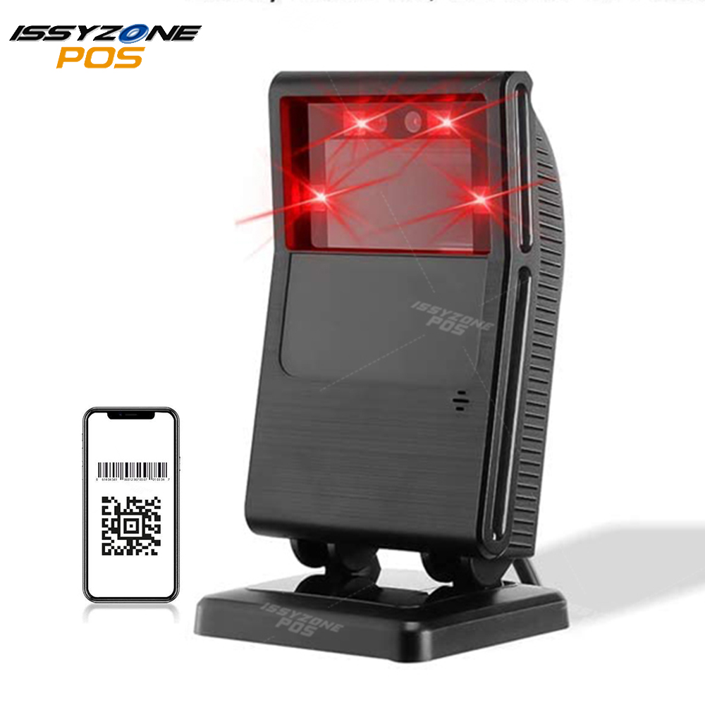 ISSYZONEPOS 1D 2D QR Barcode Scanner ITF-14 Code Data Matrix Reader Automatic USB Wired Scanner 1200 Times/Second Scanning
