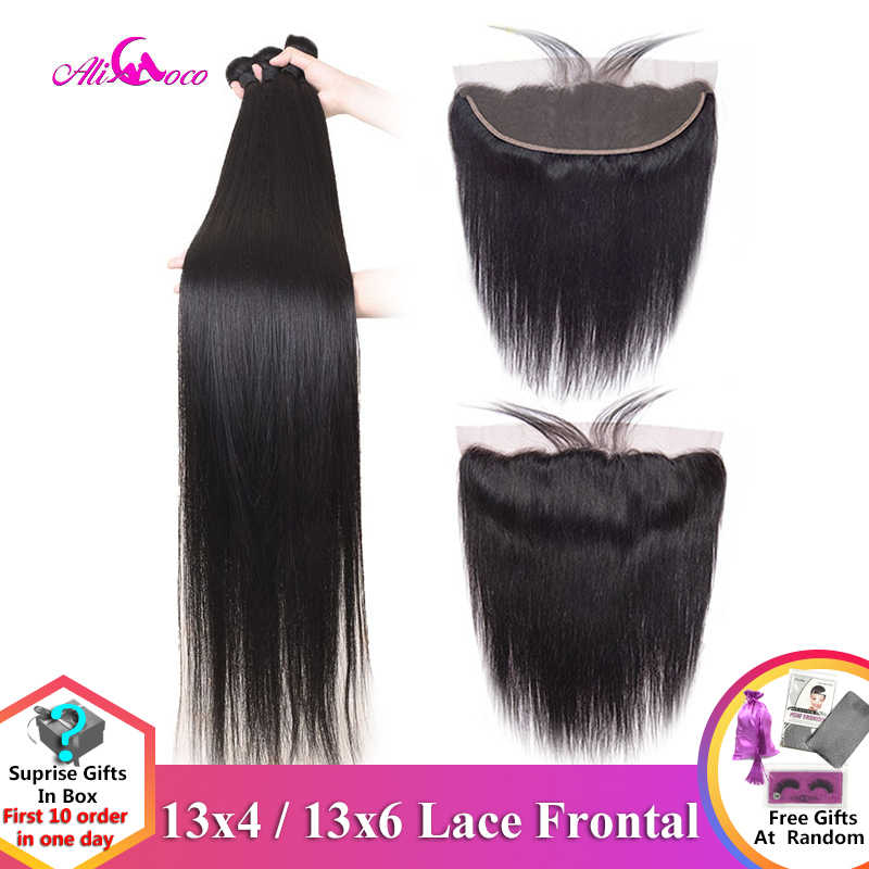 Ali Coco 28 30 Inch Straight Human Hair Bundles With Frontal Brazilian Remy Hair Pre Plucked 13x4 13x6 Lace Frontal With Bundles