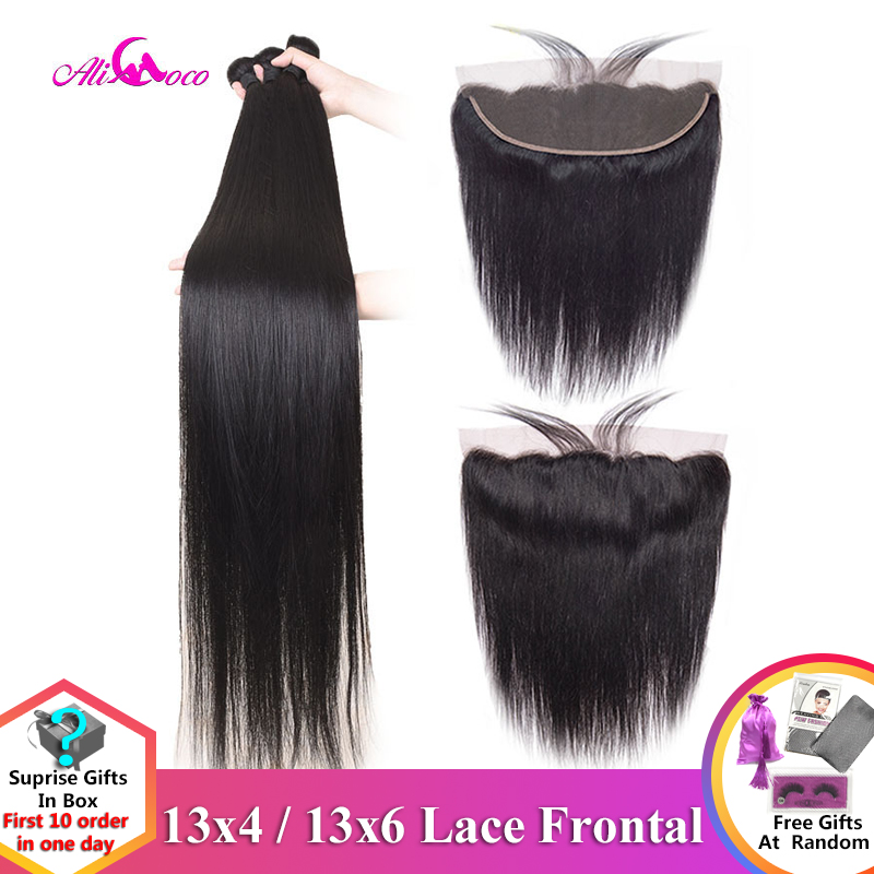 Ali Coco 28 30 32 34 40 Inch Brazilian Straight Bundles With Lace Frontal Human Hair Bundles With Frontal Remy Hair Extensions