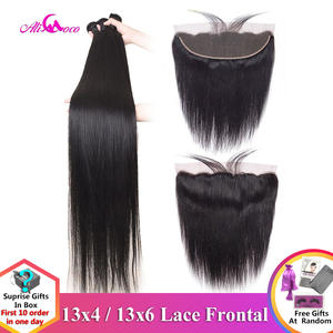 Human-Hair-Bundles Frontal Remy-Hair Ali Coco Straight Brazilian 28-30inch with Pre-Plucked