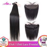 Ali coco 28 30 Polegada pacotes de cabelo humano em linha reta com frontal brasileiro remy cabelo pré arrancado 13x4 13x6 frontal do laço com pacotes