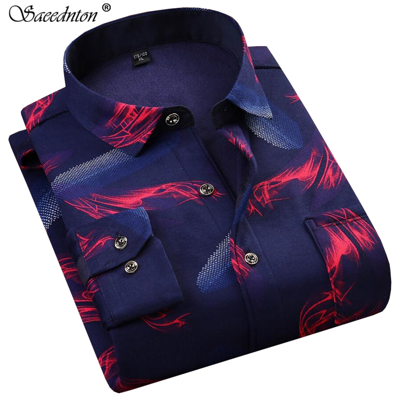 Winter Long Sleeve Plus Velvet Thick Warm Business Casual Shirt 2019 Men 39 s Cotton Plaid Print Slim Fit Camisa Social Masculina in Casual Shirts from Men 39 s Clothing