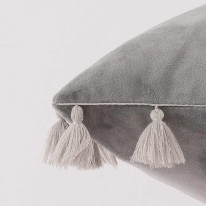 Amazon TUA RUA NHUNG Sofa Gối Màu Trơn Sang Trọng Đầu Giường Hình Chữ Nhật Đệm Viền Áo Gối Vintage Thắt Nơ