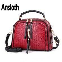 Ansloth Vintage Square Bags Women Zipper Shoulder Ladies Small Messenger Solid Color Female HPS700