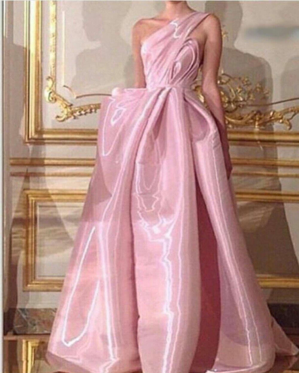 Prom Evening Gown 2018 A-Line One Shoulder Ruched Long Satin Vestido De Noiva Off The Shoulder Mother Of The Bride Dresses