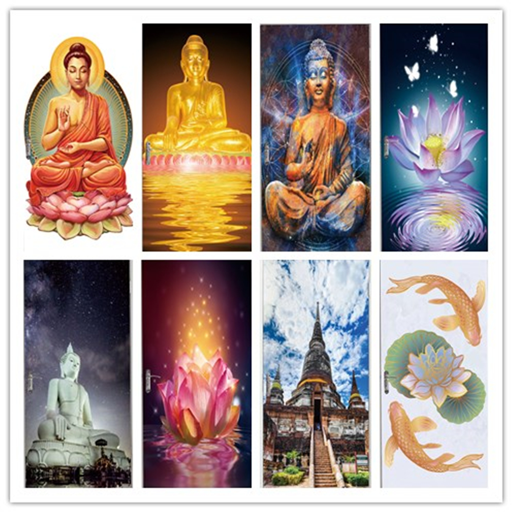 PVC Poster Self Adhesive Door Sticker Buddha Statue Orchid Home Decor Canvas Print Living Room Art Pictures Waterproof Wallpaper