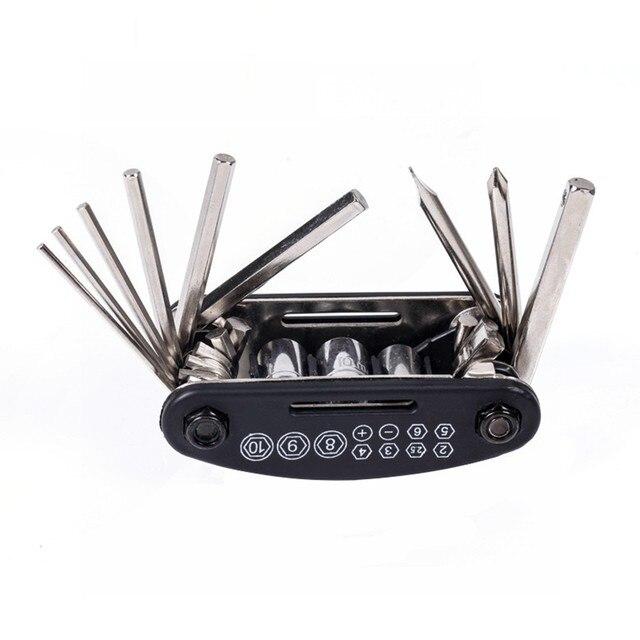 Multi fonction 16 en 1 Kit doutils de vélo entretien Mini ensemble pour outil de réparation de VTT de route en plein air Gadget ensemble doutils de vélo