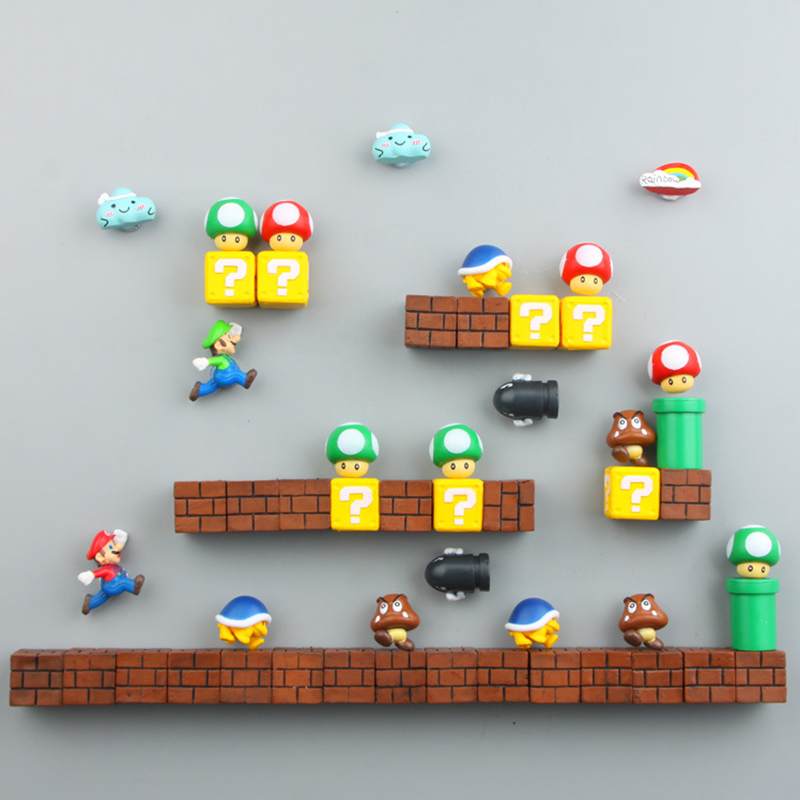 10pcs 3D Super Mario Bros Fridge Magnets Refrigerator Magnet Toy Birthday Gift