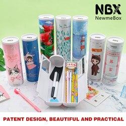 NBX 연필 케이스 대용량 연필 상자 메이크업 펜 파우치 학교 사무실의 더블 데크 펜 홀더와 내구성 학생 편지지