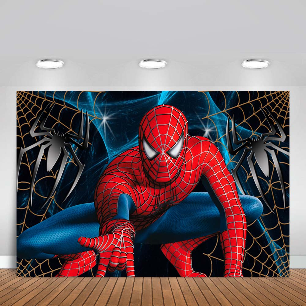 Spiderman Photography <font><b>Backdrop</b></font> Superman <font><b>Boy</b></font> Children Birthday Party Background Banner Photo Studio <font><b>Backdrop</b></font> Photo Prop image