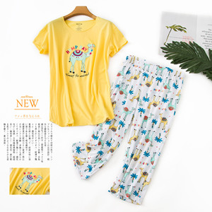 Image 5 - New Plus Size Pajamas for Women Summer Short Sleeves Calf Length Pants Pijama Mujer V Neck Printing Loungewear Pyjamas Sleepwear