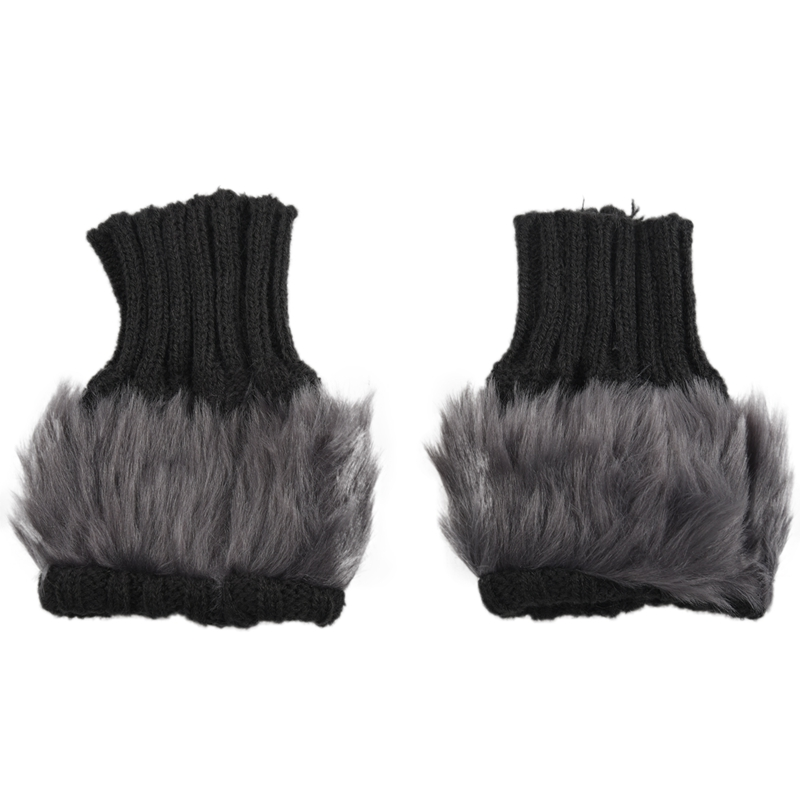 Lady Girl Shaggy Faux Fur Knit Fluffy Hands/LEG Warmers Ankle Boot Covers Gloves - Dark Gray