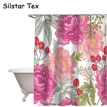 Silstar Tex Colorful Garden Rose Shower Curtain Polyester Waterproof Partition Curtains Household Bathroom Decorative цена и фото