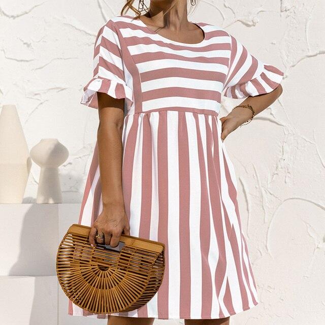 Summer Loose Women Dress Elegant Stripe Midi Dresses Female Casual Short Sleeve Ruffle Office Ladies Dress Pocket Beach Vestidos 5