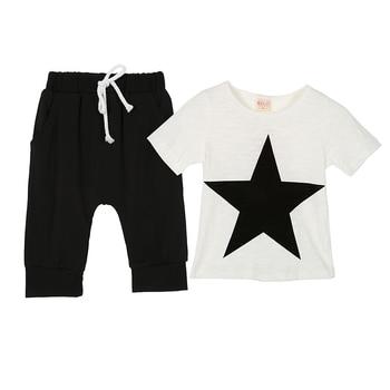 New Fashion Summer Boys Clothing Set Baby Cotton Short Sleeve Star Printed T-Shirt + Pants