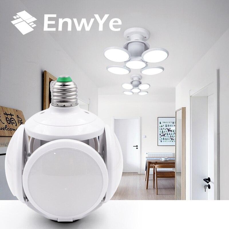 EnwYe סופר בהיר LED מתקפל הנורה E27 40W LED אור כדורגל UFO מנורת AC 85-265V LED הנורה חג המולד מתנות לילדים חג