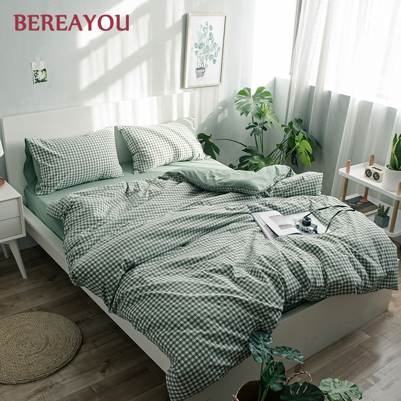 Japanese Bedding Sets Green Washed Cotton Simple Geometric Queen Size Duvet Cover Fitted Bed Sheet For Home lencol cama casal