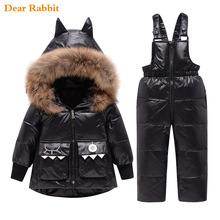 Overalls Parka Dinosaur-Coat Down-Jacket Snowsuit Girl Real-Fur Kids Winter Hooded Baby