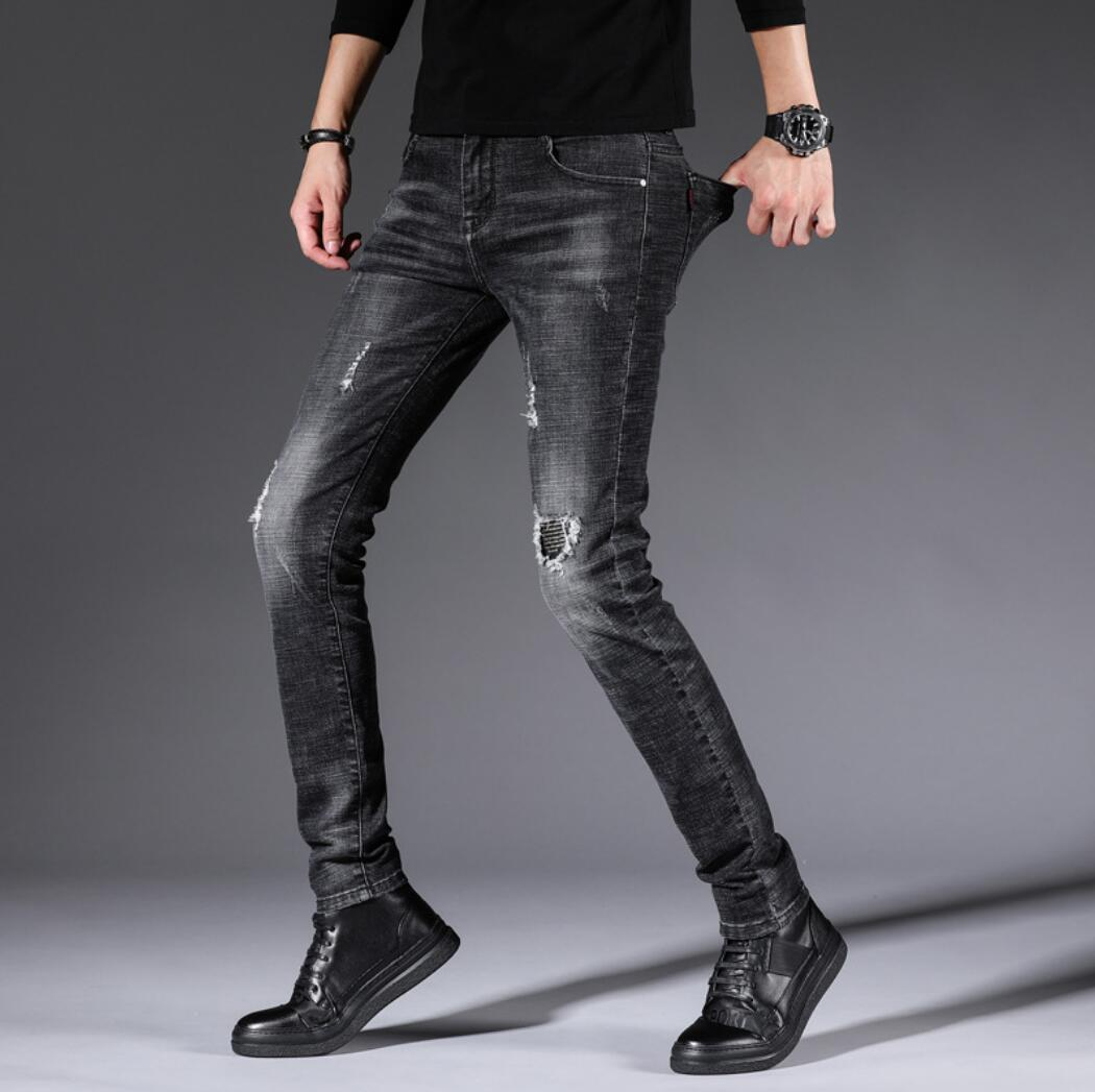 Spring And Autumn Men's New Jeans Casual Slim Feet Pants Solid Color XD622-1-9