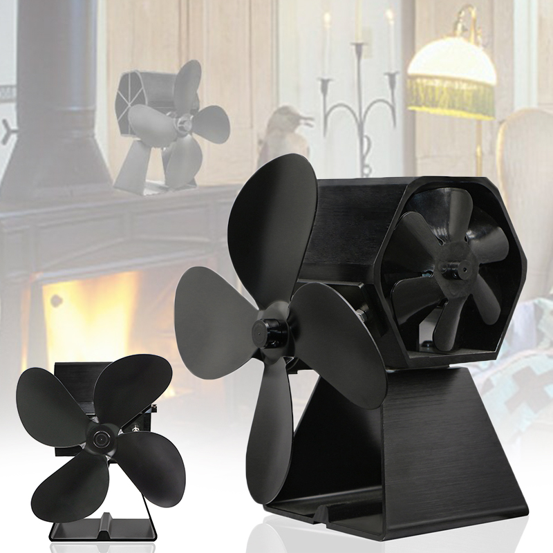 2-In-1 Heat Powered Stove 4 Blades Home Fireplace Fan Side Fan Eco Fan For Wood Log Burner Fireplace Efficient Heat Distribution