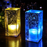 Thrisdar Rechargeable Crystal Bubbles LED Bar Table Night Light KTV Cafe Restaurant Hotel Bedroom Dining Table Lamp With Adapter