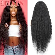 Leeven 40 بوصة الاصطناعية الدانتيل شعر مستعار أمامي أسود موجة المياه الباروكات للمرأة طويلة خصلات الشعر المستعار الأسود شقراء شعر مستعار مجعد تأثيري الشعر