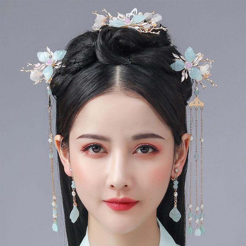 FORSEVEN Women Girls Chinese Hanfu Dress Cosplay Hair Jewelry Crystal Pearls Tassel Flower Hair Combs Hairpins Clips Hair Fork
